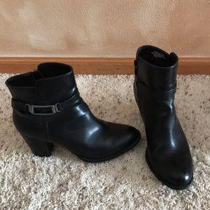 black booties, size 8